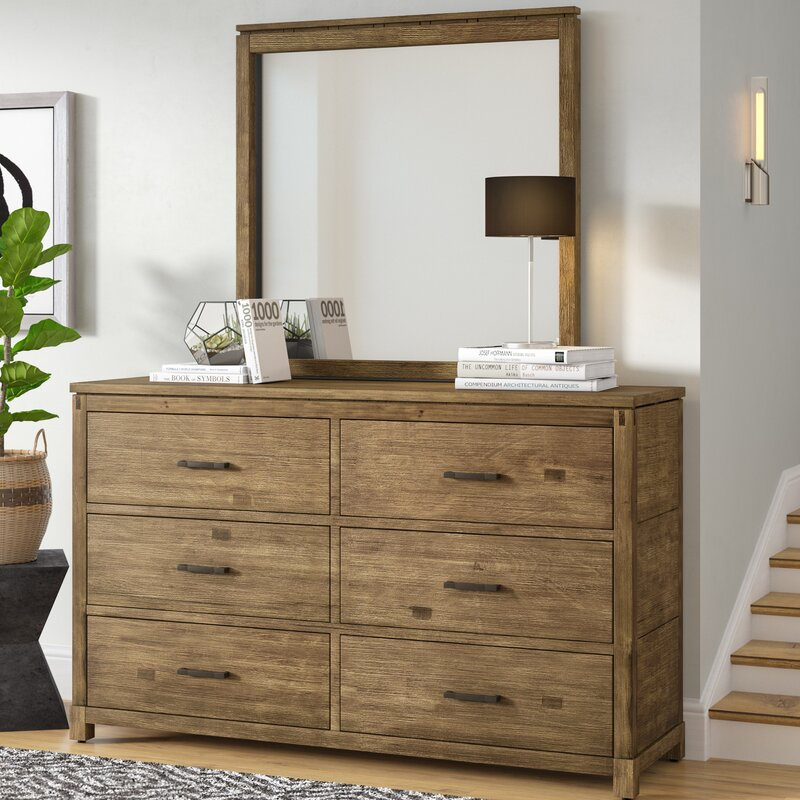 Mercury Row Seleukos 6 Drawer Double Dresser with Mirror