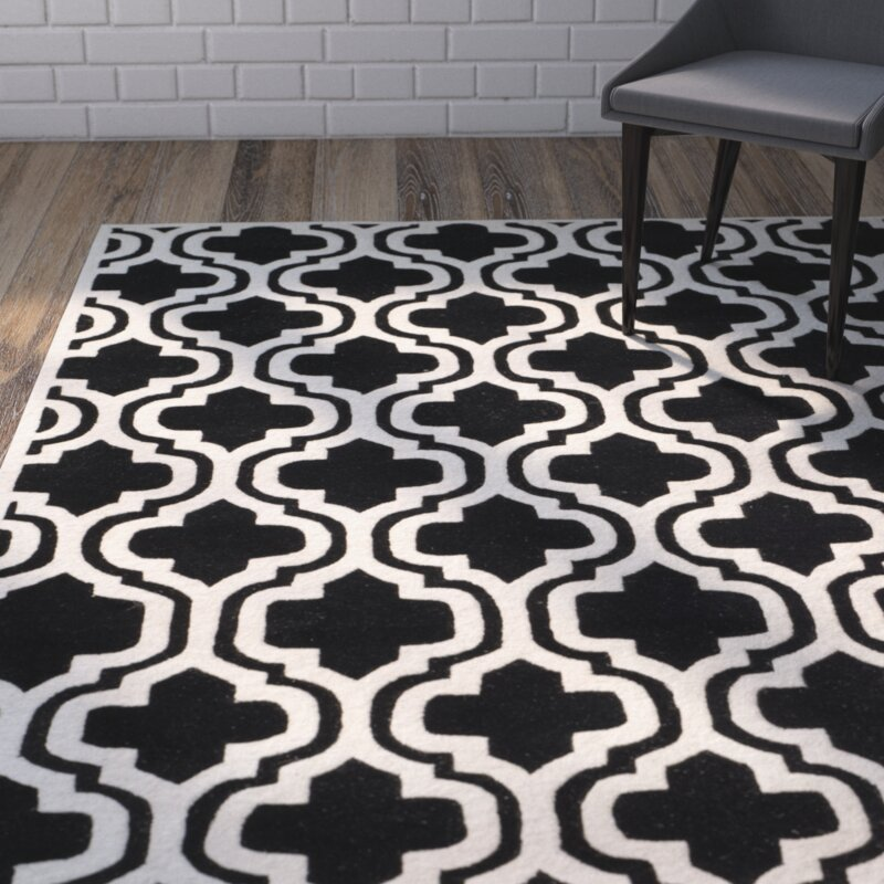 Wrought Studio Wilkin Moroccan Hand-Tufted Wool Black