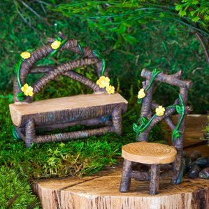 Spring Flower Wooden 2 Piece Fairy Garden Set