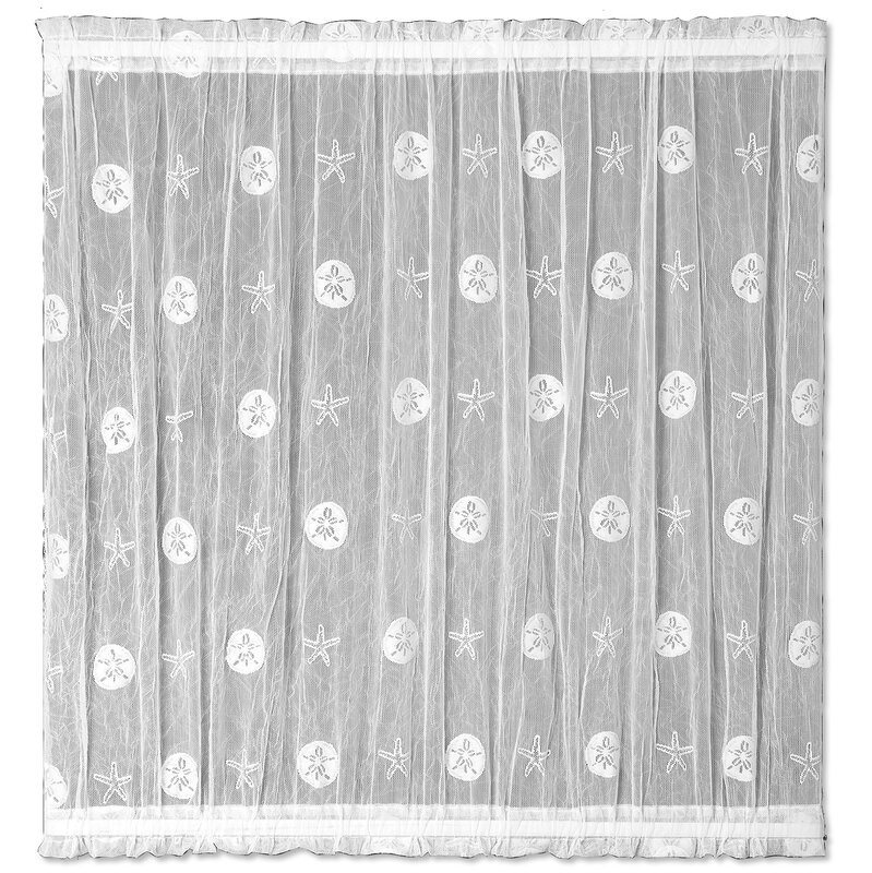 Sand Dollar Graphic Print U0026 Text Sheer Rod Pocket Single Curtain Panel
