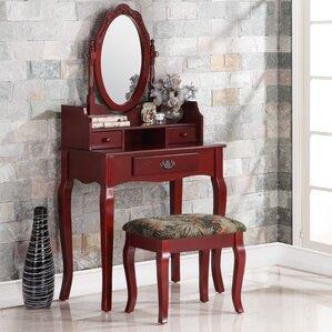 Emmett Ribbon Wood Makeup Vanity Set With Mirror Cherry Bedroom Vanities You Ll Love Wayfair