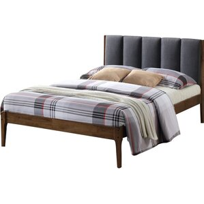 wolfgang rachele midcentury fabric and wood platform bed