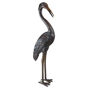 Medium Heron Head Low Cast Garden Statue