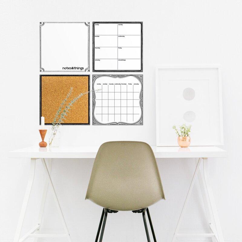 evelyne 4 piece organizer whiteboard wall decal set & reviews | joss