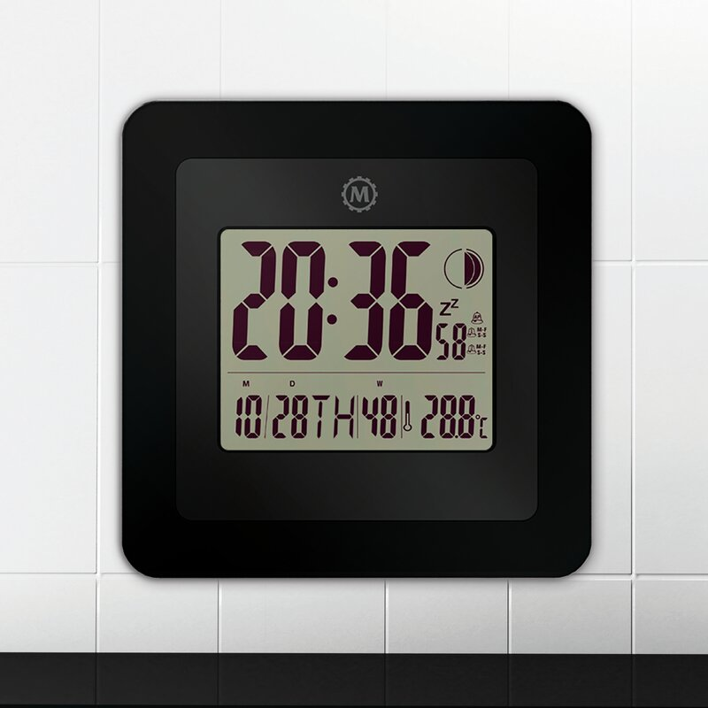 Digital Wall Clock With Day Date Week Number Temperature Alarm And Moon