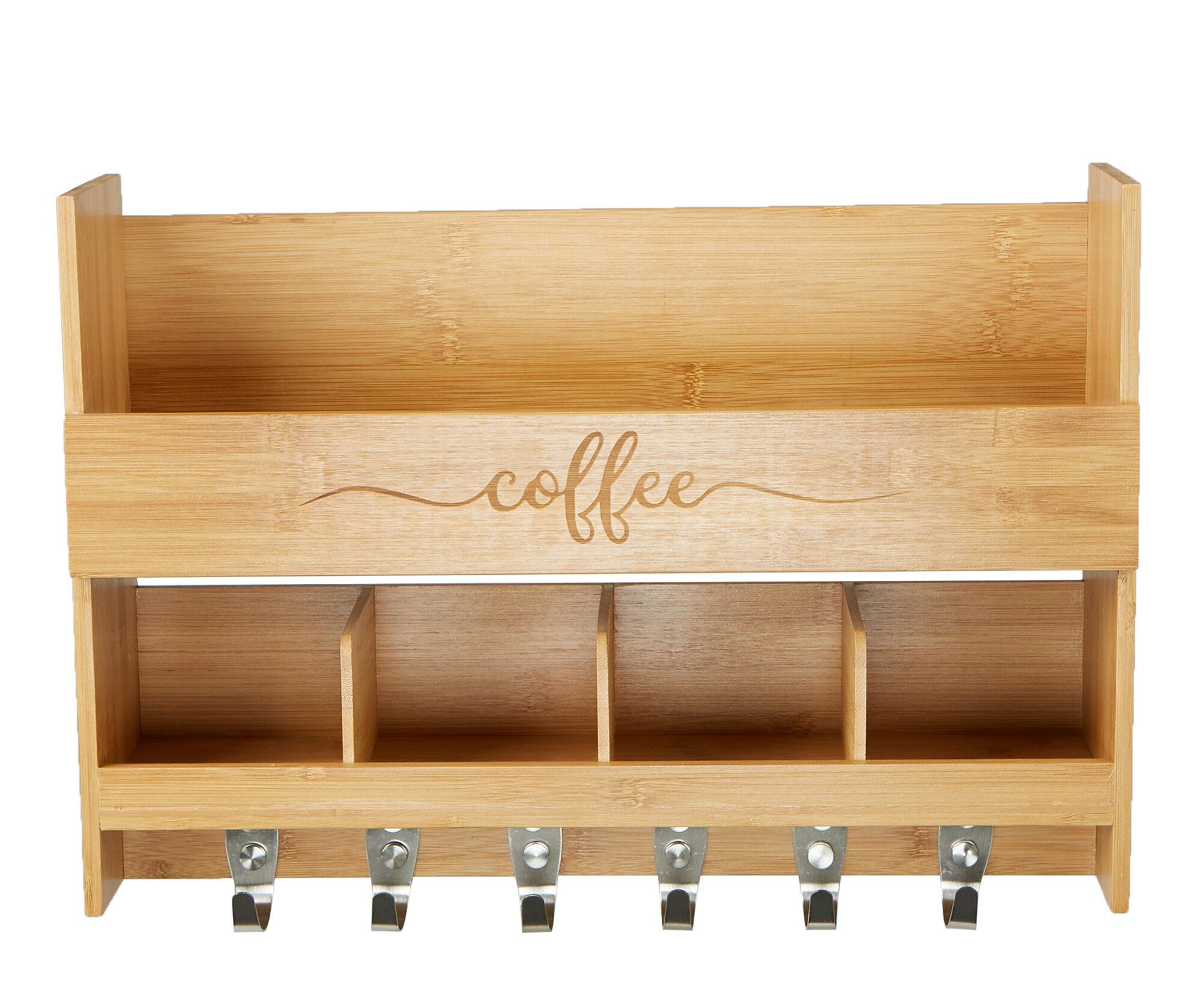 Mind Reader Bamboo Coffee Rack Wall Shelf | Wayfair