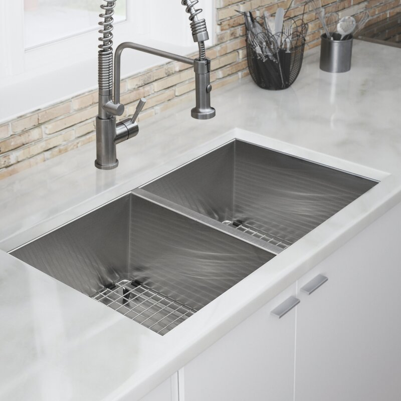 Pacific Series 16 Gauge Stainless Steel 32 L X 19 W Double Basin