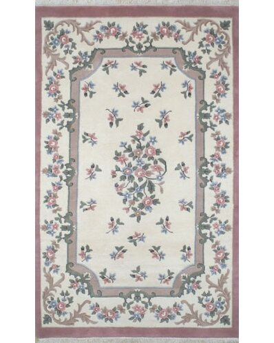 French Country Aubusson Ivory/Rose Floral Area Rug