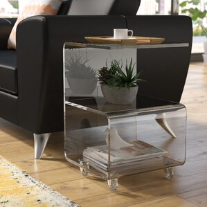 Caylee Acrylic G Shape End Table by Wade Logan