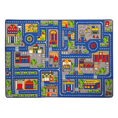 Zoomie Kids Haase Town Map Children BlueRed Area Rug Reviews - Town map for kids