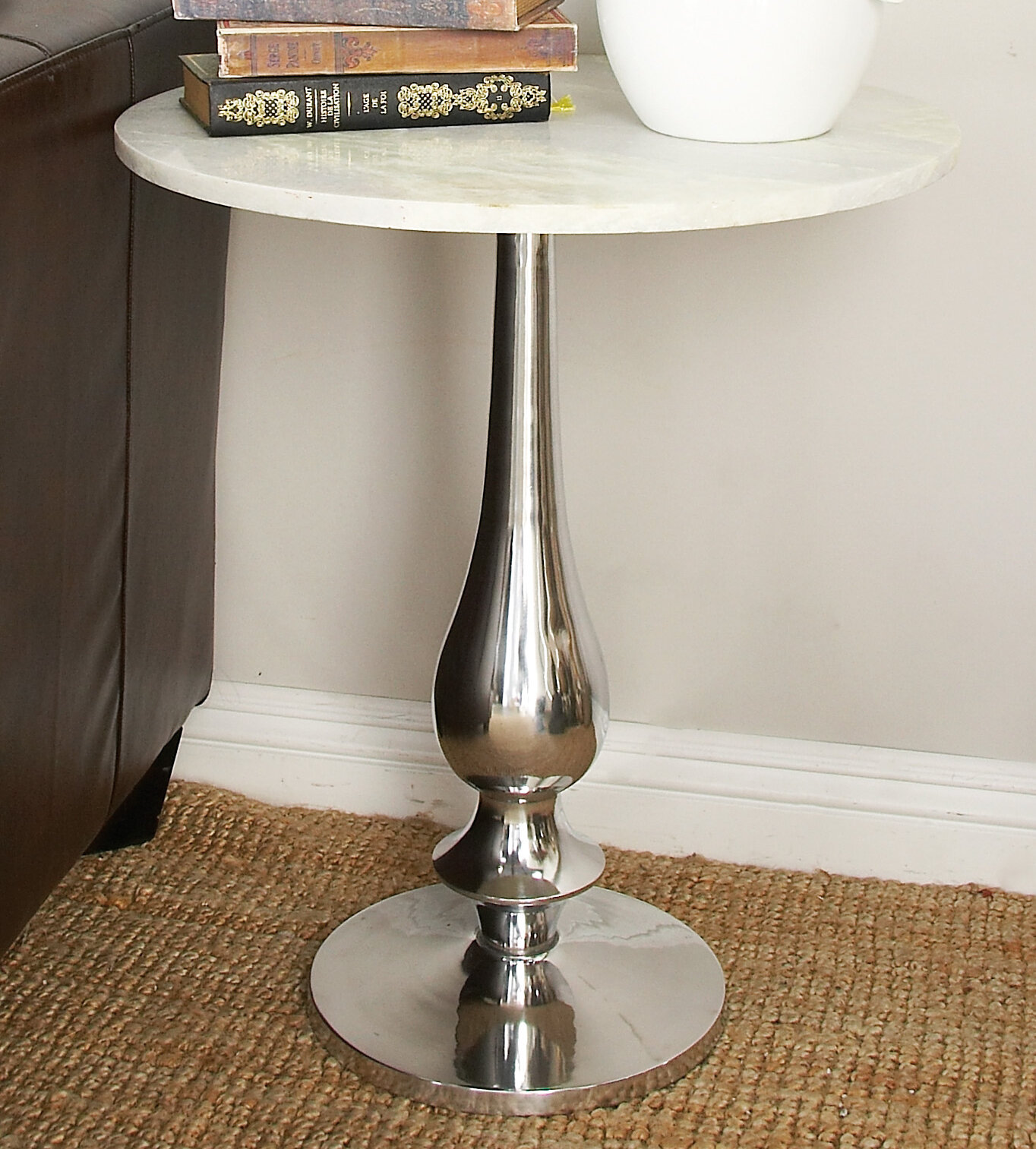 Cole grey aluminum and marble end table reviews wayfair