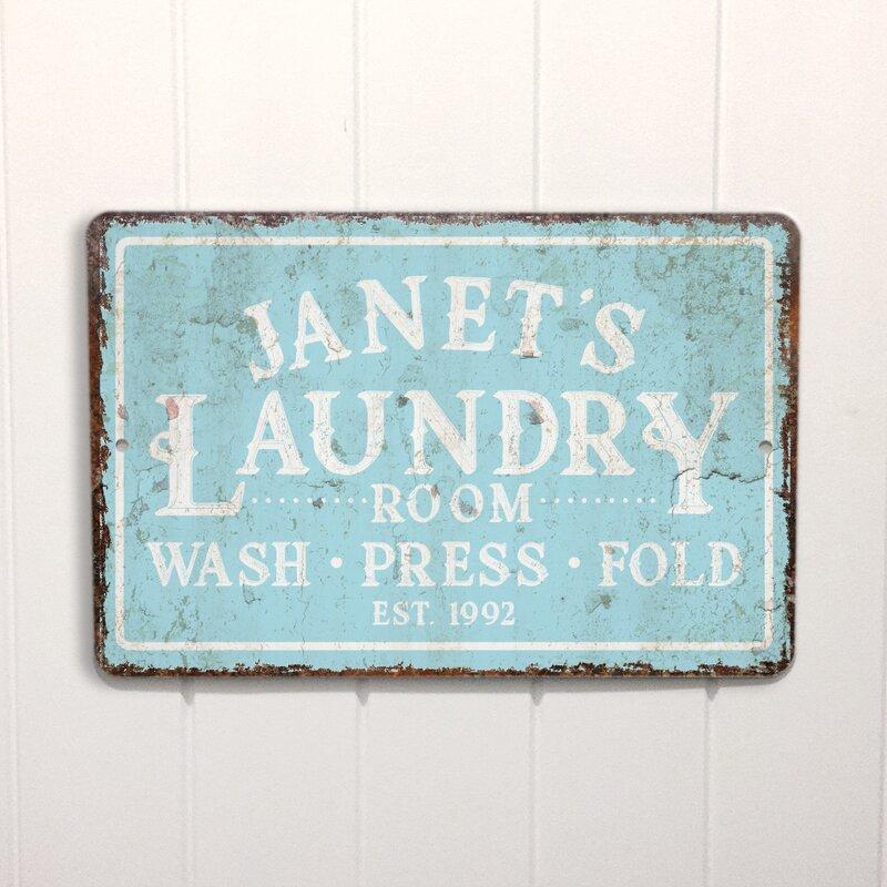 Personalized mint distressed vintage look laundry metal sign wall décor