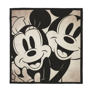 Clic Mickey And Minnie Black Beige Area Rug