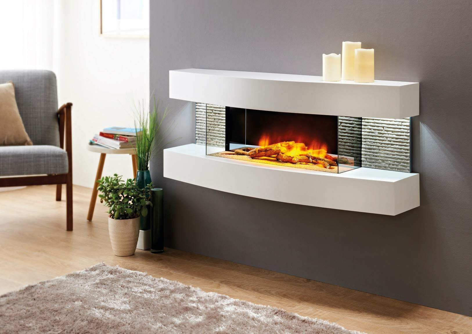 Orren Ellis Fraenzel Curve Wall Mounted Electric Fireplace Reviews