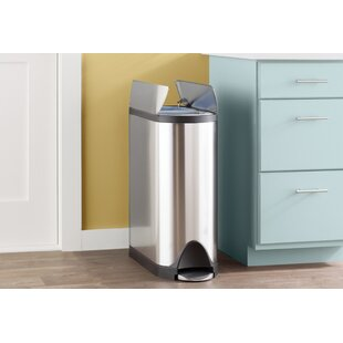 Incroyable 10.6 Gallon Butterfly Step Trash Can, Dual Compartment Recycler, Brushed Stainless  Steel