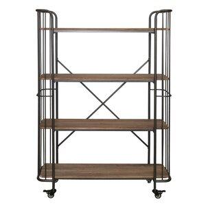 Alexsa 4 Tier Wood Shelf Metal Bar Cart
