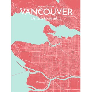 Poster map wall art youll love wayfair vancouver city map graphic art print poster in maritime gumiabroncs Image collections