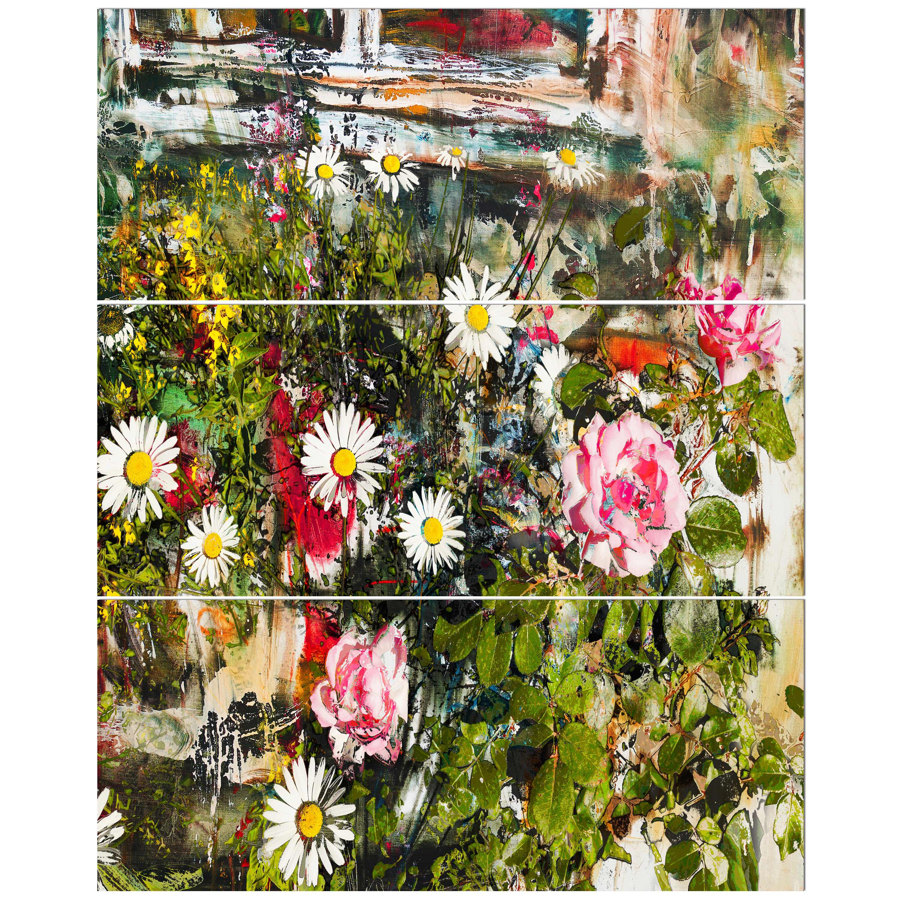 East urban home roses and daisies under window oil painting print east urban home roses and daisies under window oil painting print multi piece image on wrapped canvas wayfair izmirmasajfo