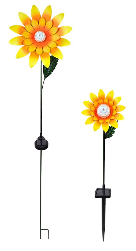 2 Piece Rotating Sunflower Garden Stake Set
