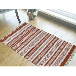 Bargain One-of-a-Kind Furness Handmade Kilim 3' x 5'2 Wool Red/White Area Rug By Isabelline