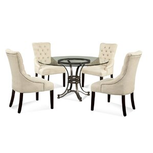 Lamb 5 Piece Glass Table Top Dining Set by Willa Arlo Interiors