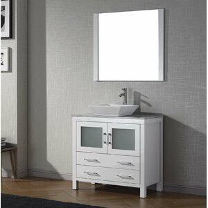 "Cartagena 30"" Single Bathroom Vanity Set with White Marble Top and Mirror"