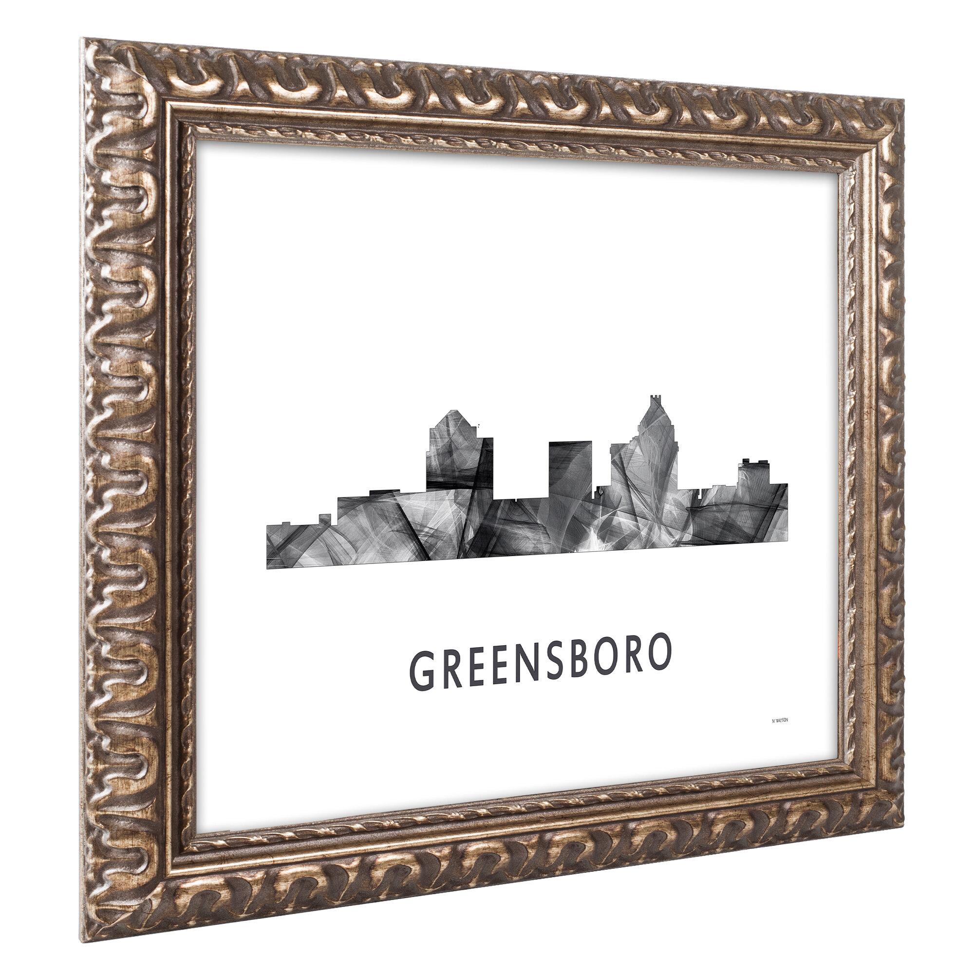 Trademark Art Greensboro Nc Skyline Wb Bw Framed Graphic
