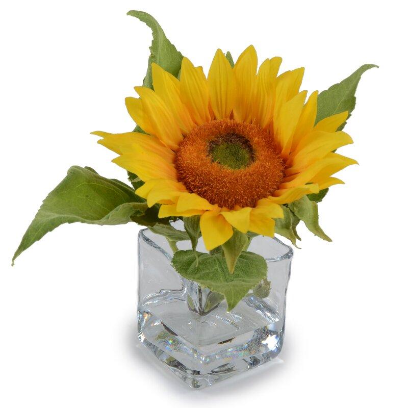 New Growth Designs Faux Sunflower Vase Wayfair