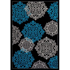 Alanson Turquoise/Black Indoor/Outdoor Area Rug