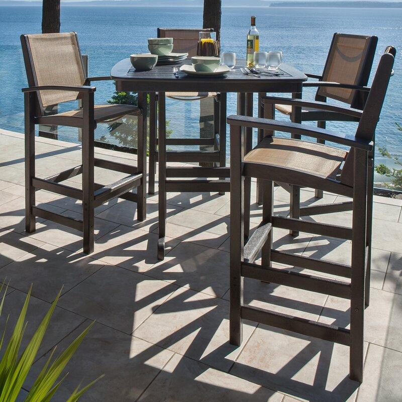 POLYWOOD® Coastal 5 Piece Bar Height Dining Set & Reviews ...