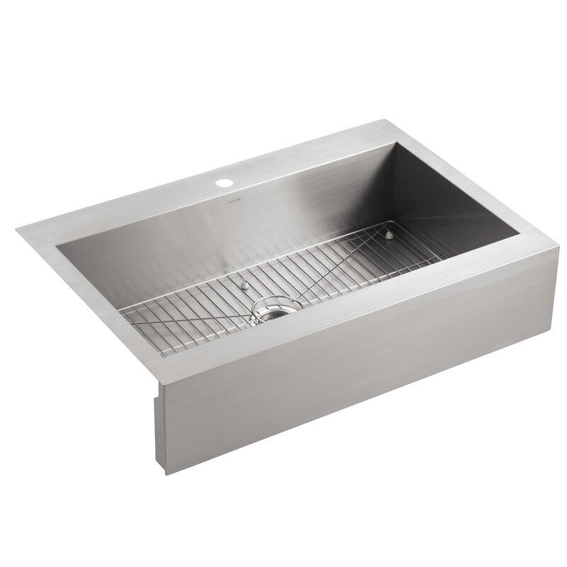 Steel Kitchen Sink K 3942 1 na kohler vault top mount single bowl stainless steel vault top mount single bowl stainless steel kitchen sink with shortened apron front workwithnaturefo