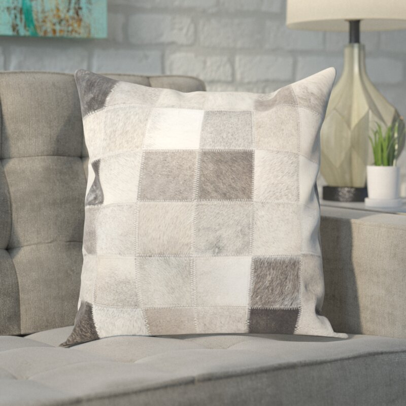 Mercury Row Modern Leather/Suede Throw Pillow