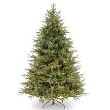 75u0027 frasier green grande artificial christmas tree with clear lights with stand - Fake Christmas Trees