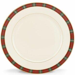 winter greetings plaid dinner plate