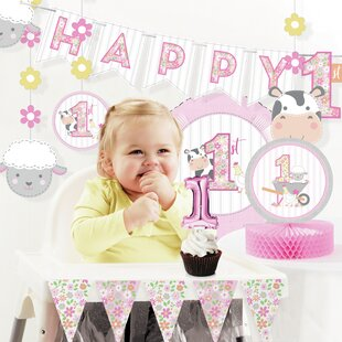 Farmhouse Girl 1st Birthday Paper Plastic Disposable Decorations Kit