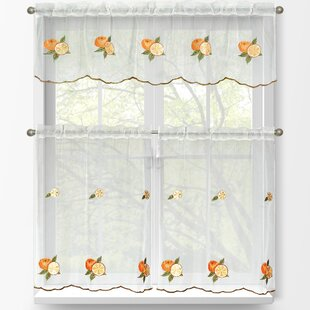 Gentil Oranges 3 Piece Embroidered Kitchen Tier And Valance Set