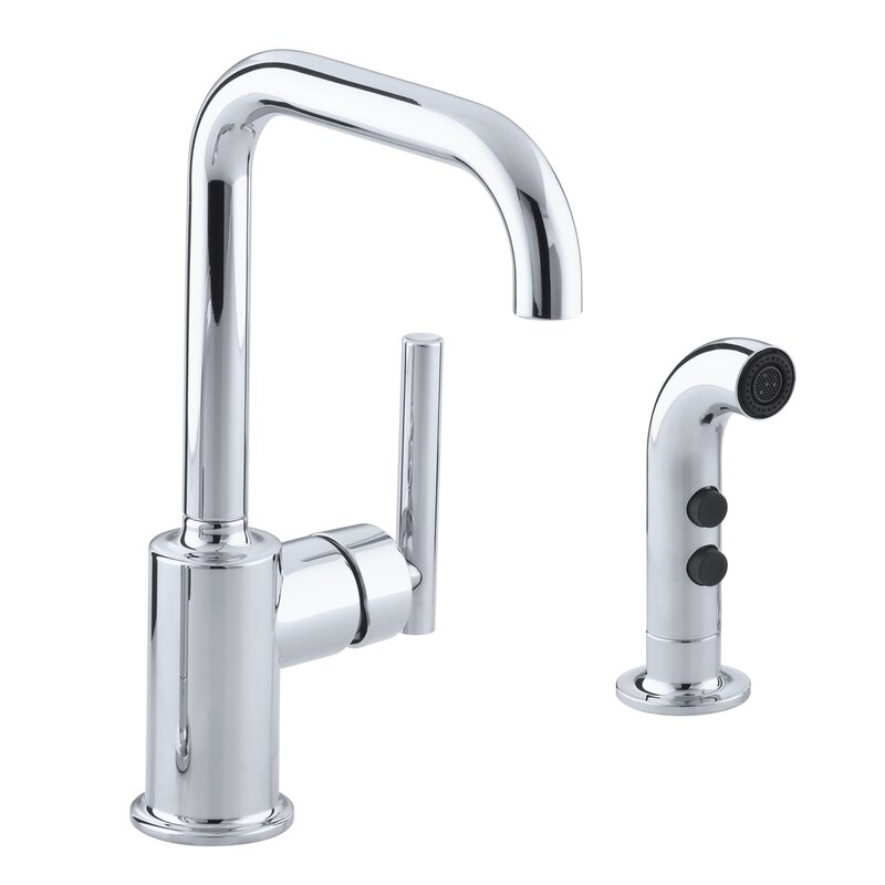 K-7511-CP,SN Kohler Purist Two-Hole Kitchen Sink Faucet with 6 ...