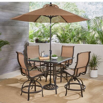 Buariki 5 Piece High Dining Set With Umbrella