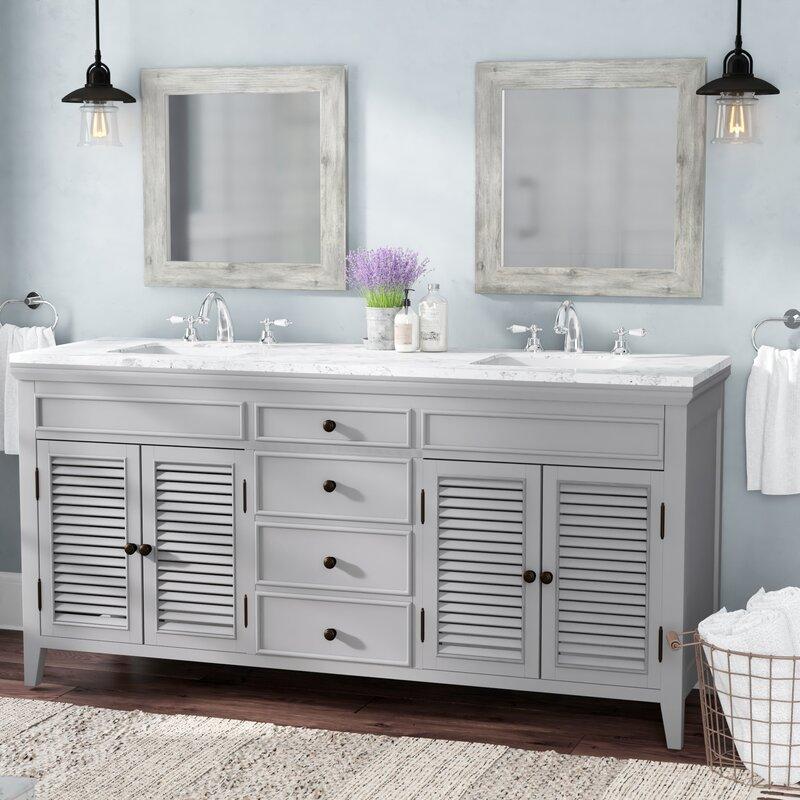 Laurel Foundry Modern Farmhouse Grovetown Double Bathroom Vanity - 1950's style bathroom vanity