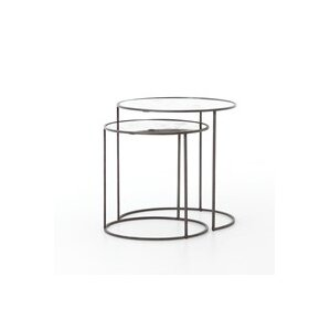 Sellars Iron/Glass Cylinder 2 Piece Nesting Tables