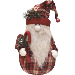 038a8533169 Plaid Sitting Santa Gnome with Candy Canes Plush Table Top Christmas Figure