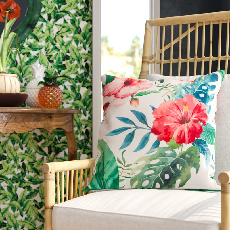 Bay Isle Home Sherwick Hibiscus Floral Tropical Print Indoor Outdoor