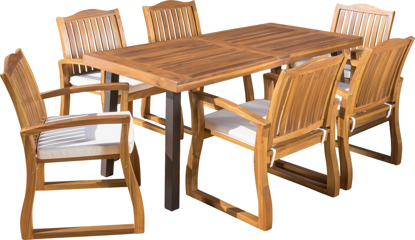 Isidore 7 Piece Dining Set With Cushions