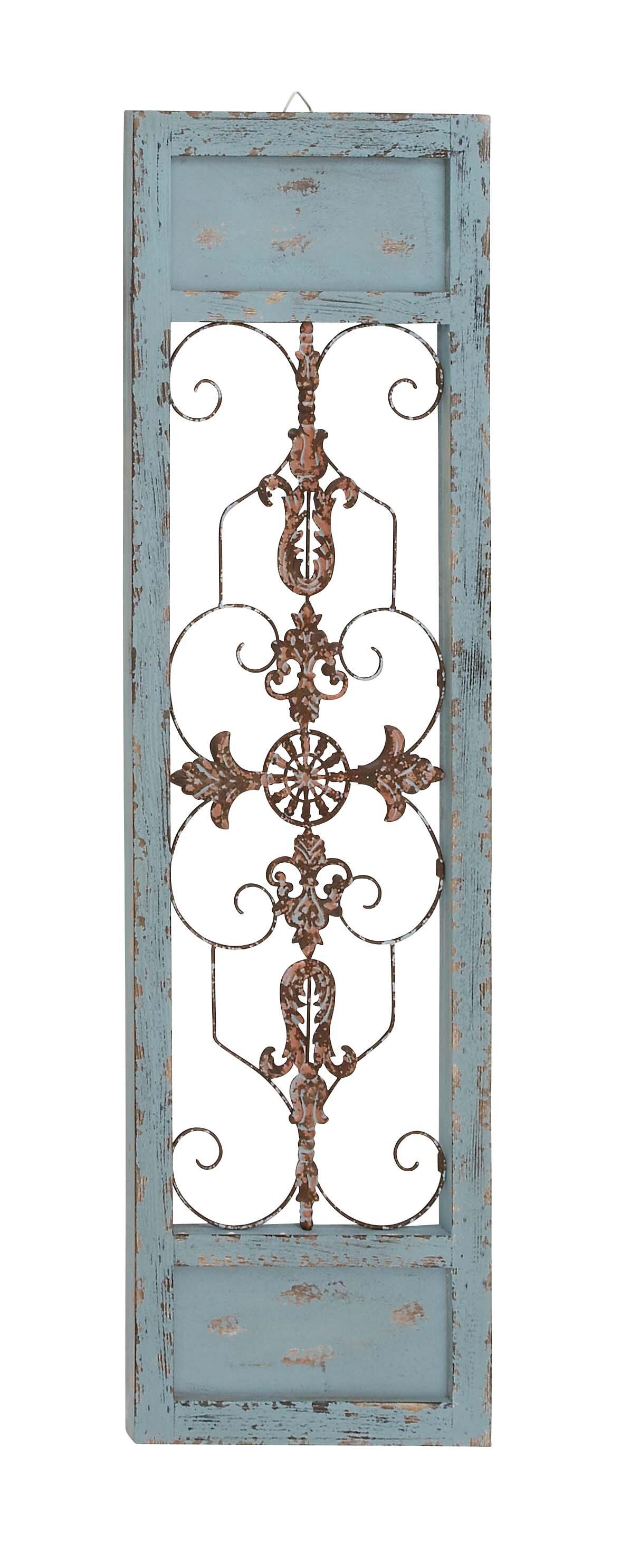 Ornamental Wood And Metal Scroll Wall Decor