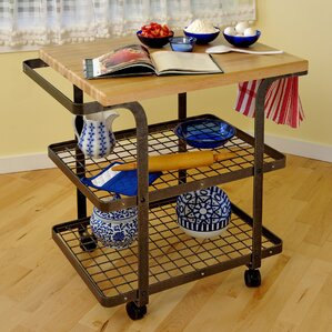 Premier Kitchen Cart with Wood Top by Enc..