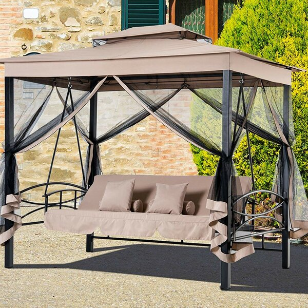 Freeport Park Kenyatta Outdoor Patio Daybed Canopy Gazebo Swing With Mesh Walls Wayfair