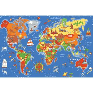 Play Carpet Where In The World Blue Indoor/OutdoorArea Rug