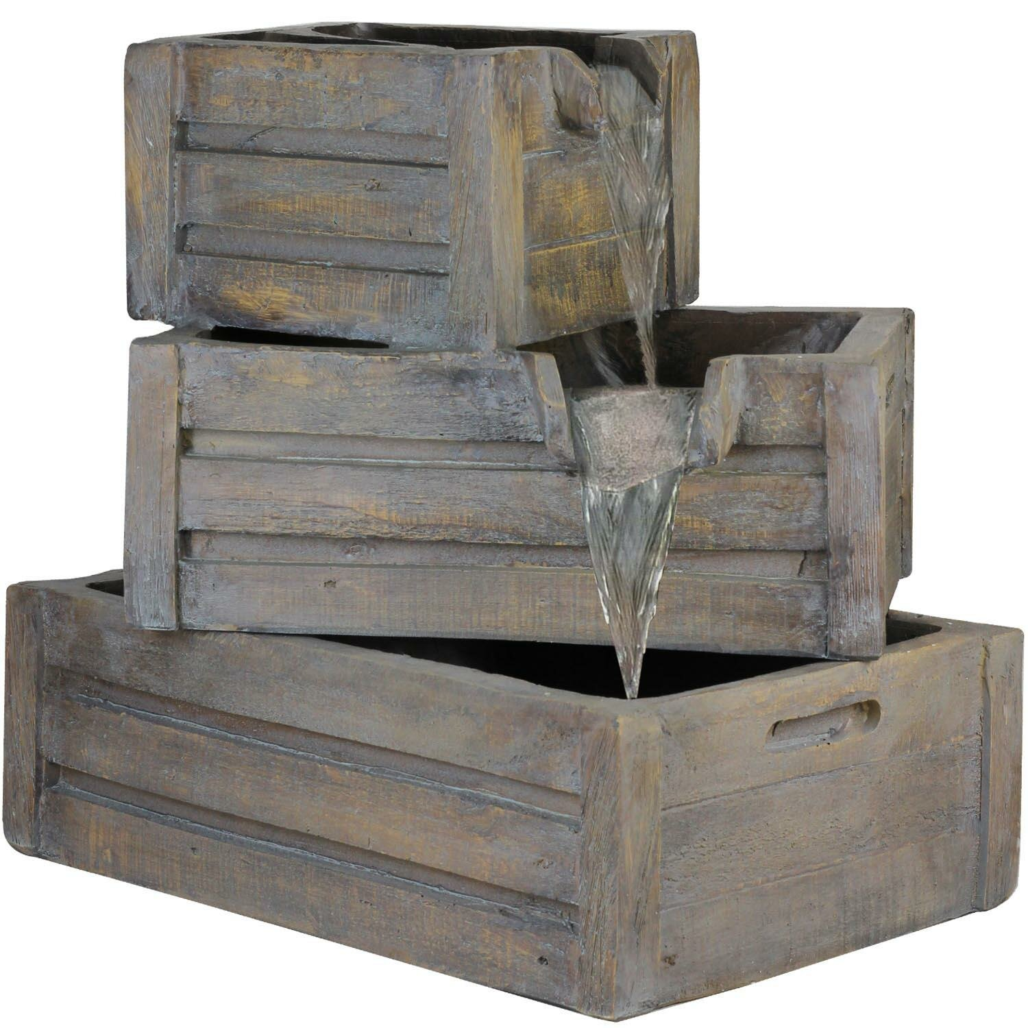 Northlight Polystone 3 Tier Planter Boxes Outdoor Water Fountain