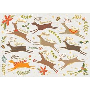 Santa's Reindeer by Irene Chan Vinyl Placemat