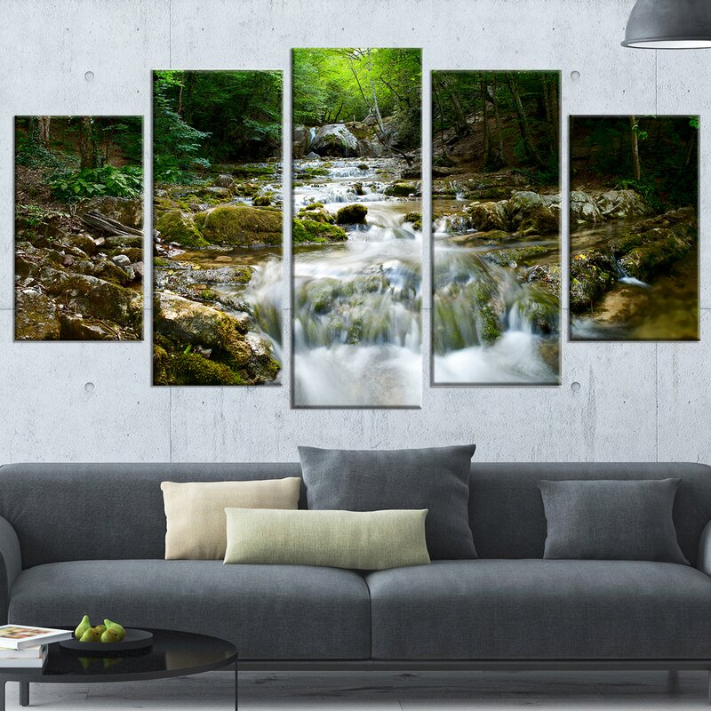 DesignArt \'Natural Spring Waterfall\' 5 Piece Wall Art on Wrapped ...
